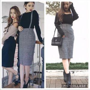 Gray Black Nailshead Suspenders Pocket Midi Skirt